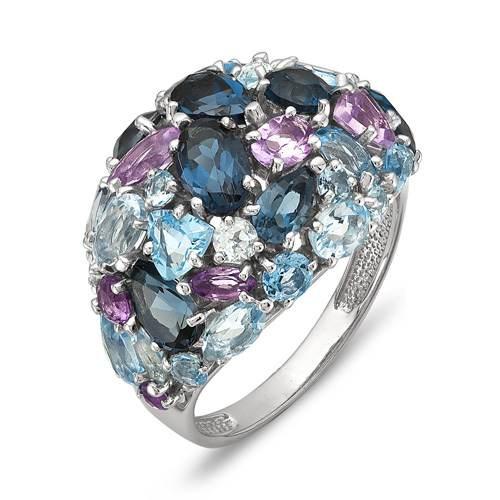 кольцо с бирюзой из белого золота
