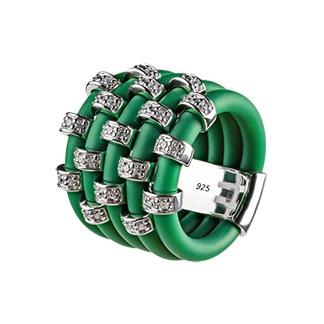 Кольцо из каучука с серебром и фианитами